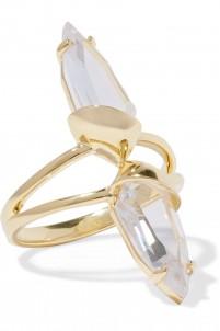 Set of three gold-tone crystal rings