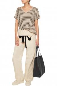 Cotton and linen-blend straight-leg pants