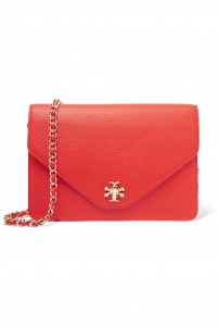 Kira textured-leather clutch