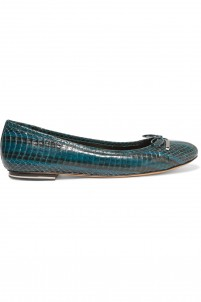 Odette snake-effect leather ballet flats