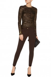 Stretch cotton and modal-blend skinny pants