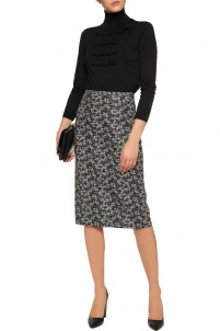 Wool-jacquard midi skirt
