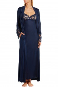 Whisper Leavers lace-paneled stretch-jersey and silk-georgette robe