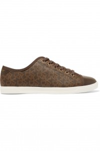 Blaire coated textured-leather sneakers