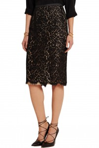 Guipure lace pencil skirt