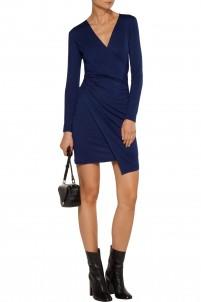 Nori wrap-effect stretch modal-blend mini dress