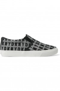 Beth leather-trimmed jacquard slip-on sneakers