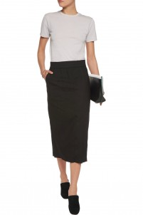 Slit-front linen-blend midi skirt
