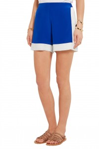 Leon two-tone silk crepe de chine shorts