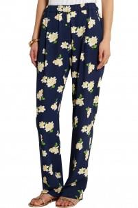 Printed silk-georgette wide-leg pants