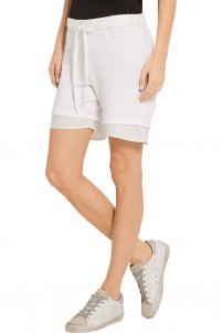 Twill-trimmed cotton-blend shorts
