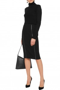 Zipped wool-blend crepe skirt