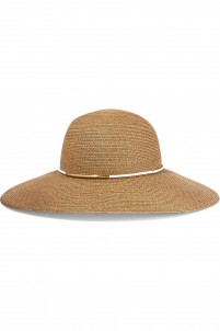 Honey faux leather-trimmed straw sunhat