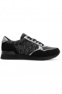 Jamie tweed, suede and leather sneakers