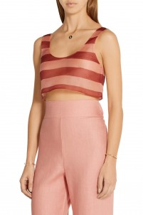 Seawind cropped striped silk-organza top
