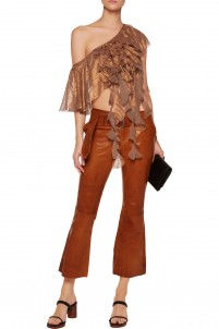 Metallic ruffled off-the-shoulder chiffon top