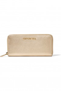 Bedford metallic textured-leather continental wallet