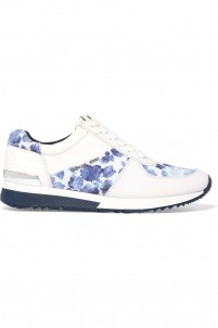 Allie printed canvas-paneled leather sneakers