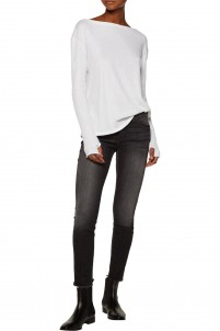 Slub cotton and cashmere-blend top