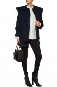 Bouclé hooded coat