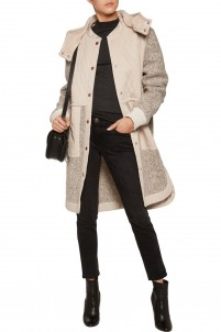 Quilted cotton and wool-blend bouclé hooded coat