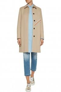 Appliquéd cotton-blend felt coat