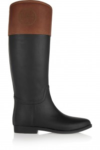 Diana leather-trimmed rubber rain boots
