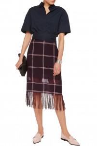 Fringed plaid linen skirt