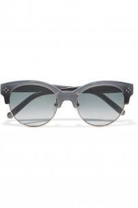 Boxwood cat-eye acetate and gold-tone sunglasses