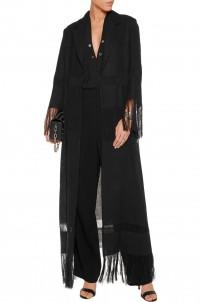 Paneled fringed linen coat