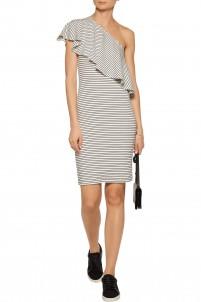 Hadley one-shoulder striped ribbed stretch-modal dress