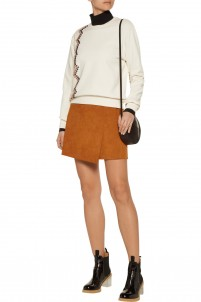 Wrap-effect faux suede mini skirt