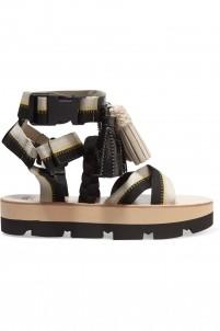 Tasseled canvas platform sandals