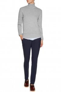 Stretch-wool crepe slim-leg pants