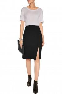 Wrap-effect stretch-wool skirt