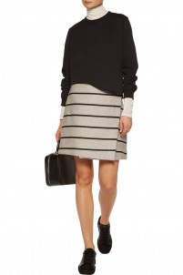 Wrap-effect striped cotton and linen-blend mini skirt