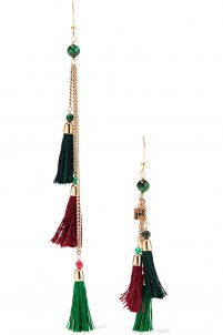 Gold-tone, stone and tassel earrings