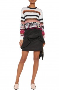 Ruffled cotton-blend faille mini skirt
