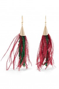 Pavone gold-tone bead and feather earrings