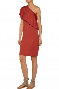 Hadley one-shoulder ribbed stretch-modal dress