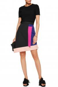 Layered cotton-blend ponte mini skirt