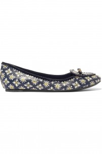 Dakota sequin-trimmed bow-embellished printed leather ballet flats