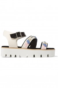 Appliquéd mesh and textured-leather platform sandals