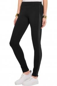 Stretch silk-paneled stretch-jersey leggings