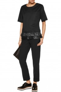 Fringed cotton-blend top