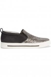 Glittered nubuck slip-on sneakers