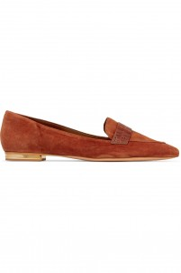 Elise croc-effect leather-trimmed suede point-toe flats