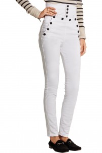Nepos high-rise stretch-cotton twill skinny pants