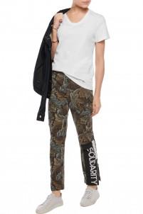 Printed cotton slim-leg pants