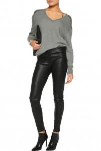 Pleated leather skinny pants